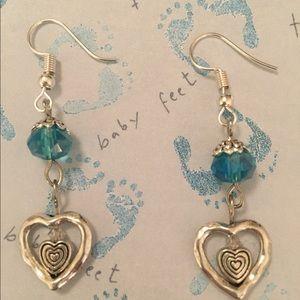 Double heart aqua Swarovski crystal